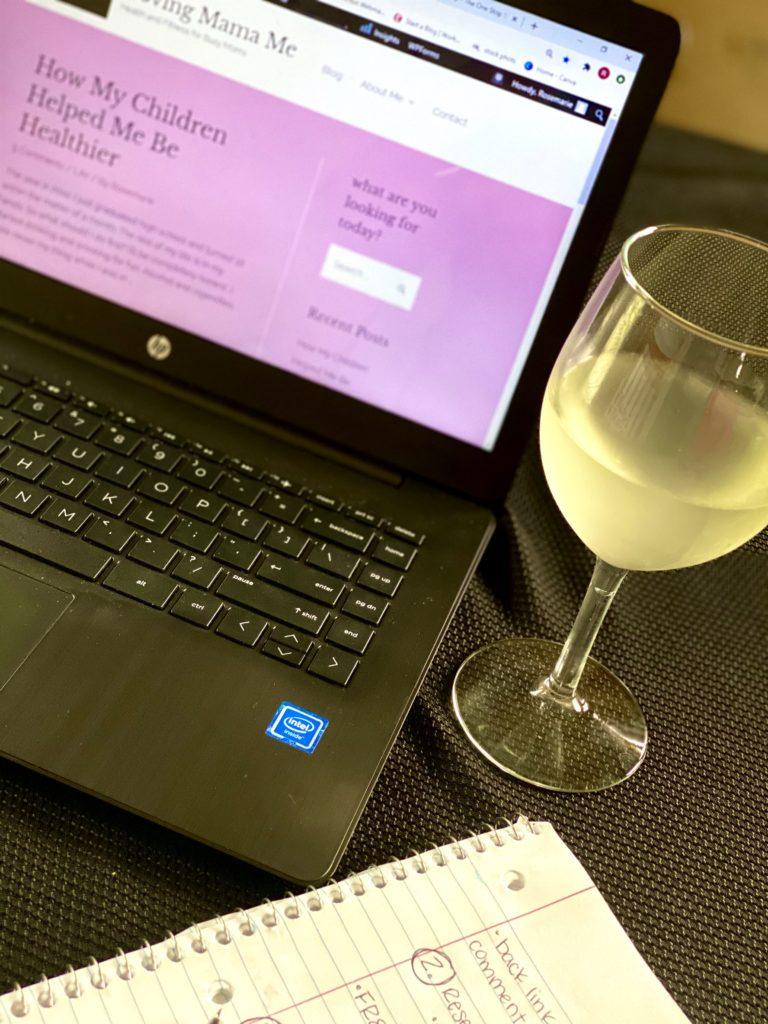 free time to moms may mean wine and work