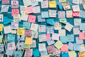 sticky notes full of positive affirmations