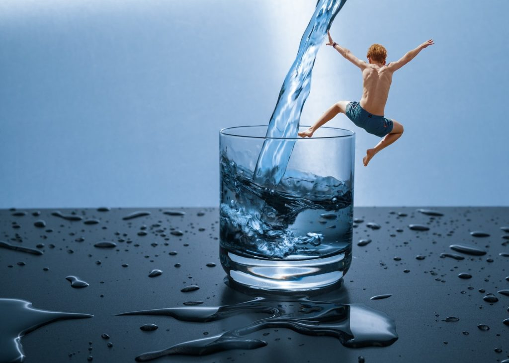 water, jump, refreshment