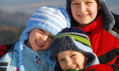 children outside in winter