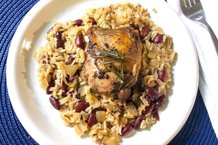 jerk chicken with red beans and coconut rice